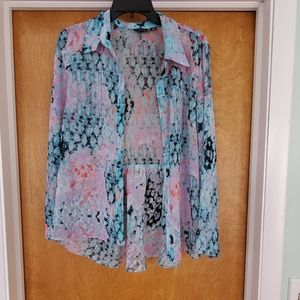 Multicolored sheer blouse